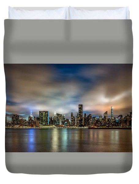 New York City Evening Skyline  Duvet Cover by Rafael Quirindongo