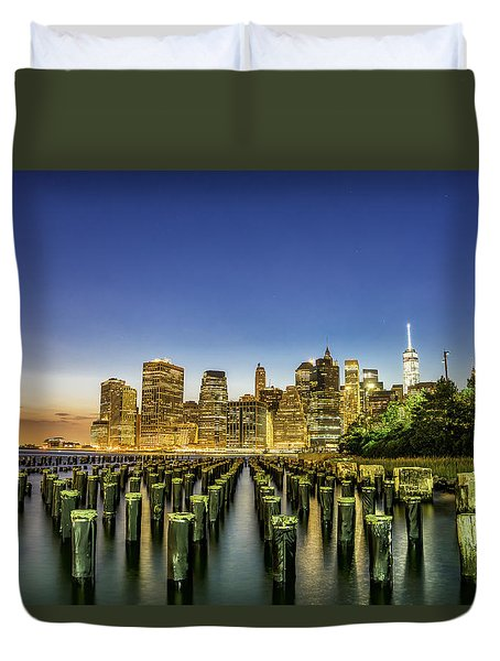 New York City From Brooklyn Duvet Cover by Rafael Quirindongo