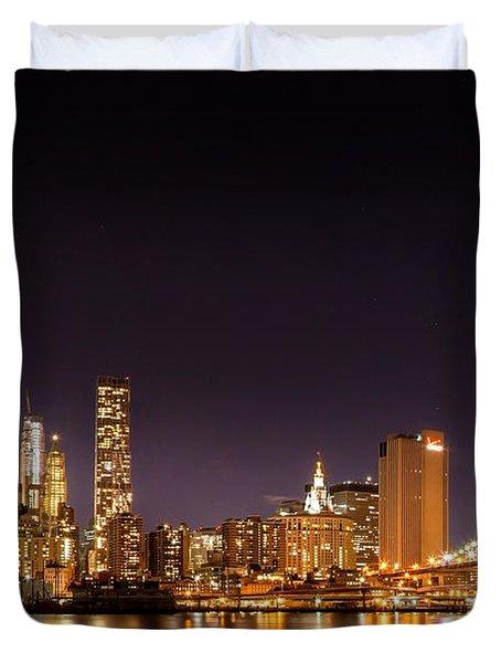 New York City Lights At Night Duvet Cover