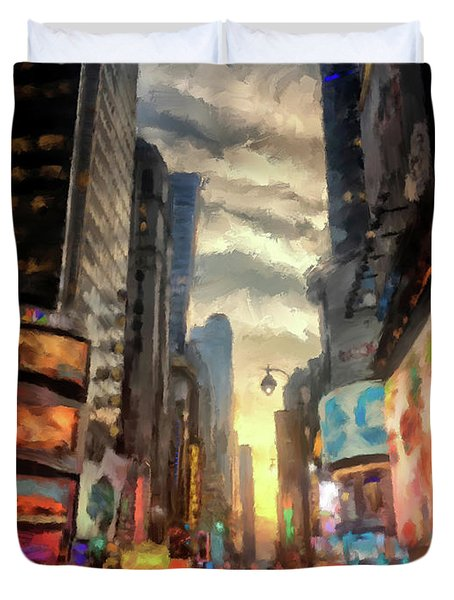 Duvet Cover featuring the photograph New York City Lights by Lois Bryan