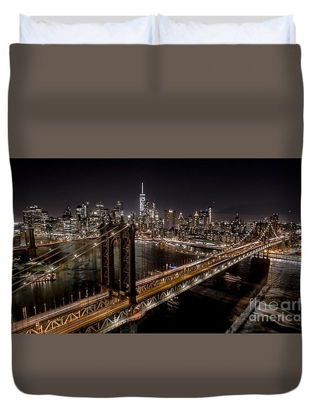 Duvet Cover featuring the photograph New York City, Manhattan Bridge At Night by Petr Hejl