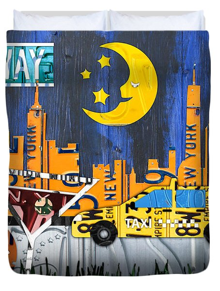 New York City Nyc The Big Apple License Plate Art Collage No 1 Duvet Cover