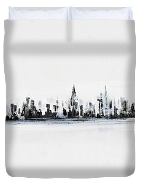 New York City Skyline Black And White Duvet Cover