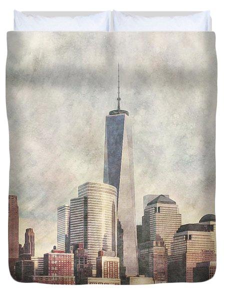 New York City Skyline Including The World Trade Centre Duvet Cover