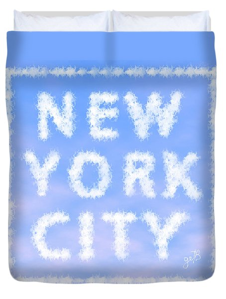Duvet Cover featuring the painting New York City Skywriting Typography by Georgeta Blanaru