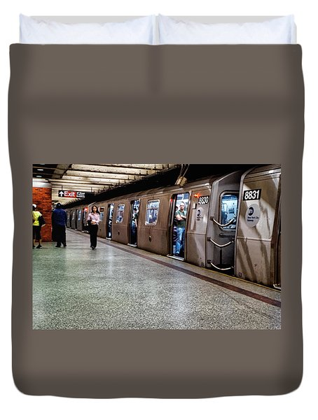 Duvet Cover featuring the photograph New York City Subway Stare by Lars Lentz