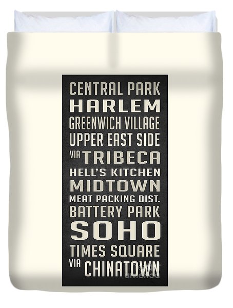 New York City Subway Stops Vintage Duvet Cover by Edward Fielding