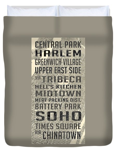 New York City Subway Stops Vintage Map 5 Duvet Cover by Edward Fielding