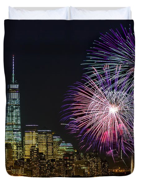 Duvet Cover featuring the photograph New York City Summer Fireworks by Susan Candelario