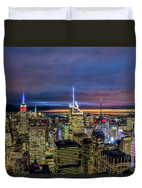New York City Twilight Duvet Cover by Rafael Quirindongo