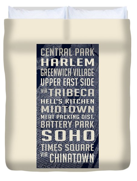 New York City Vintage Subway Stops With Map Duvet Cover by Edward Fielding