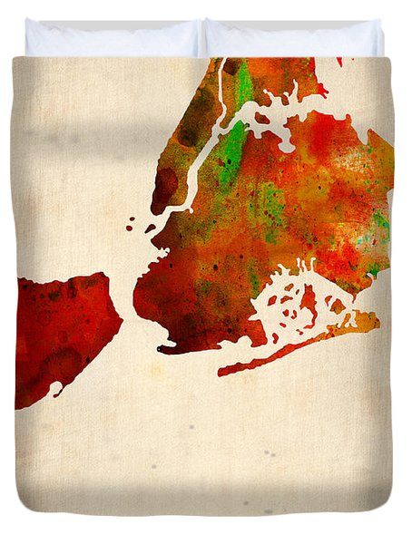 New York City Watercolor Map 2 Duvet Cover by Naxart Studio