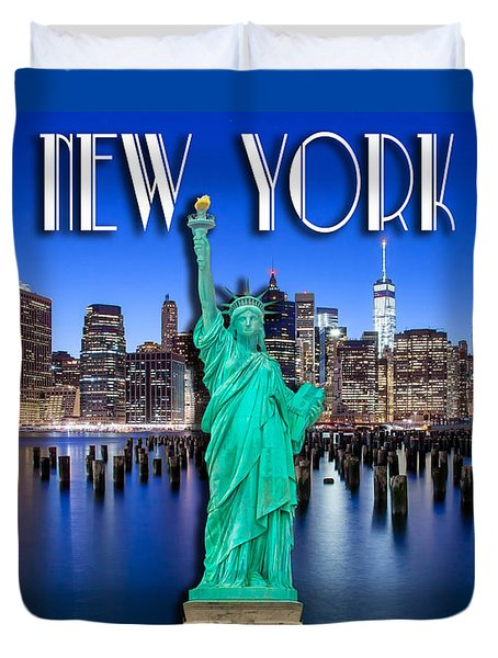 New York Classic Skyline With Statue Of Liberty Duvet Cover