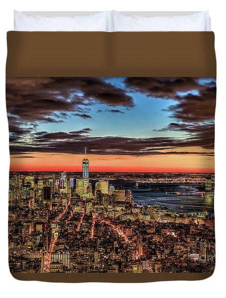 New York Electric Twilight Duvet Cover by Rafael Quirindongo