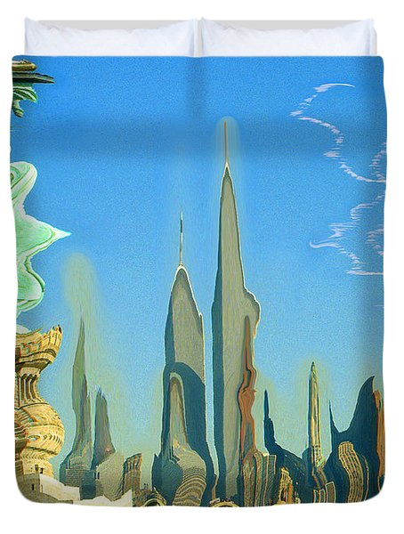New York Fantasy Skyline - Modern Artwork Duvet Cover