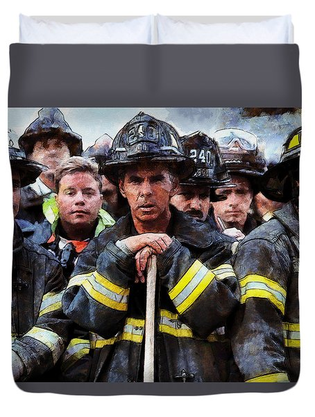 Duvet Cover featuring the painting New York Firefighters After 9/11 by Kai Saarto