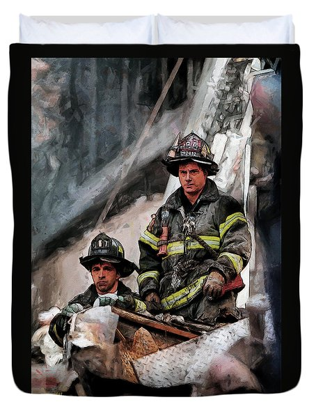Duvet Cover featuring the painting New York Firefighters After 9/11 Part 2 by Kai Saarto