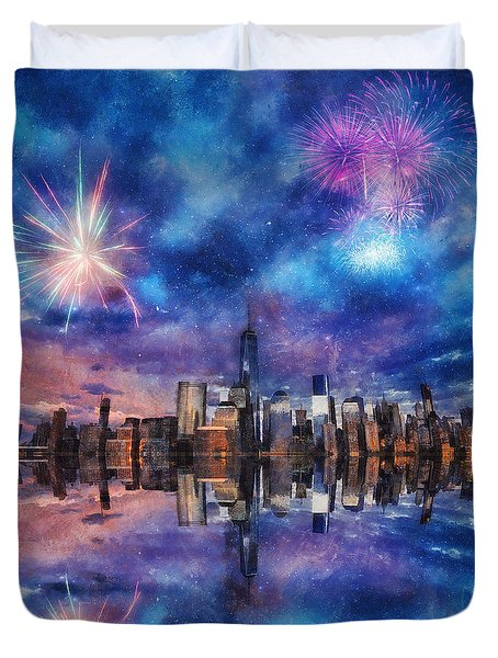 Duvet Cover featuring the photograph New York Fireworks by Ian Mitchell