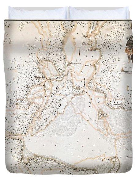New York Harbor Map 1700 Duvet Cover