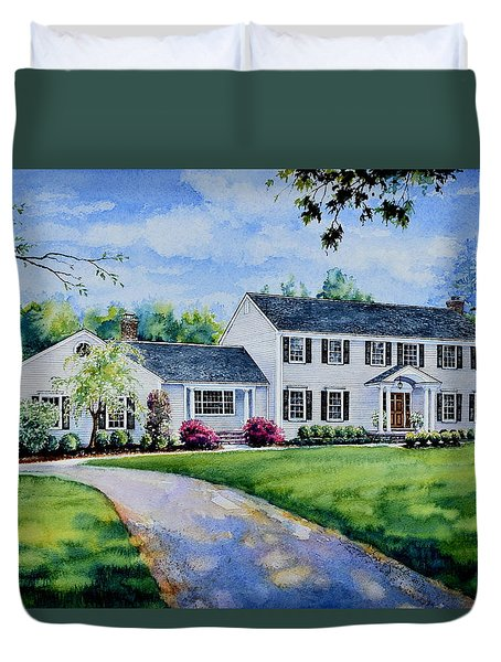 Duvet Cover featuring the painting New York Home Portrait by Hanne Lore Koehler