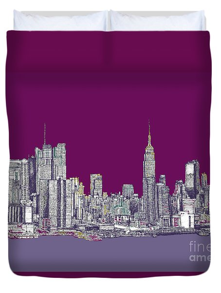 New York In Purple Duvet Cover by Adendorff Design
