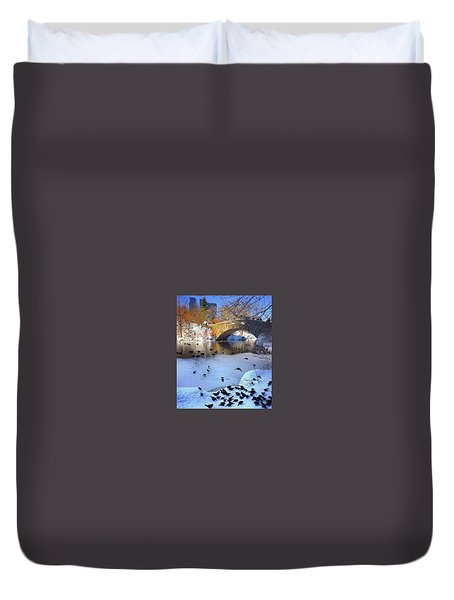 New York In The Winter Duvet Cover