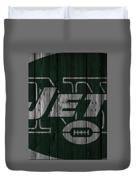 New York Jets Wood Fence Duvet Cover by Joe Hamilton