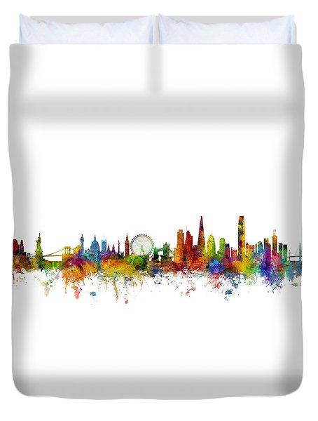 New York, London And Hong Kong Skyline Mashup Duvet Cover