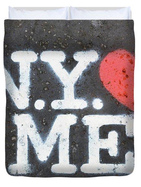 New York Loves Me Stencil Duvet Cover