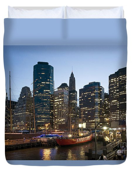 Duvet Cover featuring the photograph New York Manhattan Seaport by Juergen Held