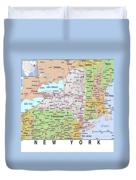New York Map Duvet Cover