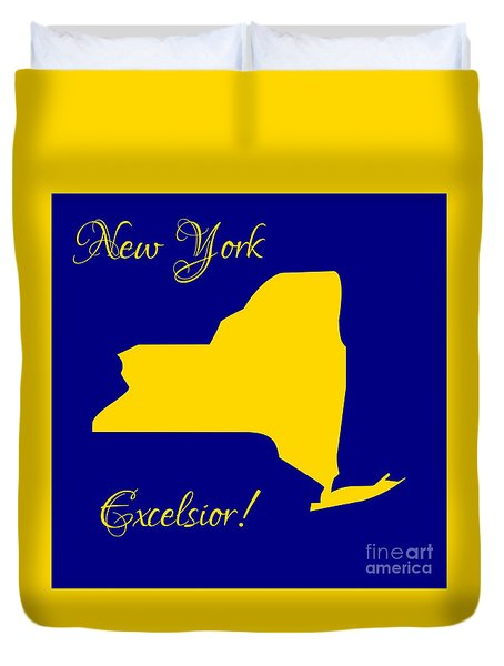 New York Map In State Colors Blue And Gold With State Motto Excelsior Duvet Cover by Rose Santuci-Sofranko