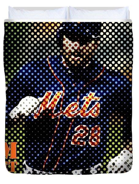 New York Mets Dots News Duvet Cover