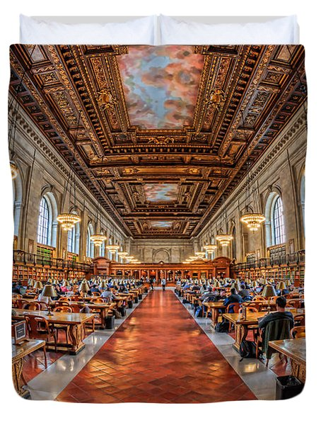 New York Public Library Main Reading Room I Duvet Cover by Clarence Holmes