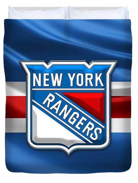 New York Rangers - 3d Badge Over Flag Duvet Cover