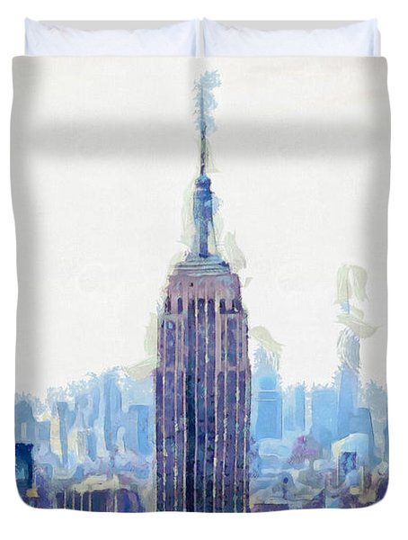 New York Skyline Art- Mixed Media Painting Duvet Cover by Wall Art Prints