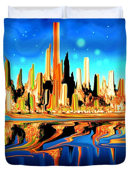 New York Skyline In Blue Orange - Modern Fantasy Art Duvet Cover