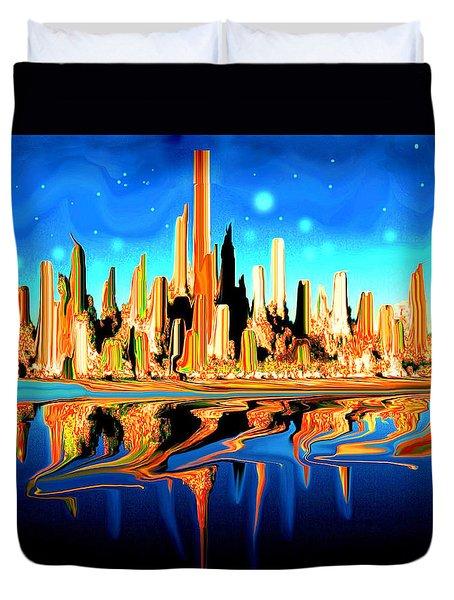 New York Skyline In Blue Orange - Modern Art Duvet Cover