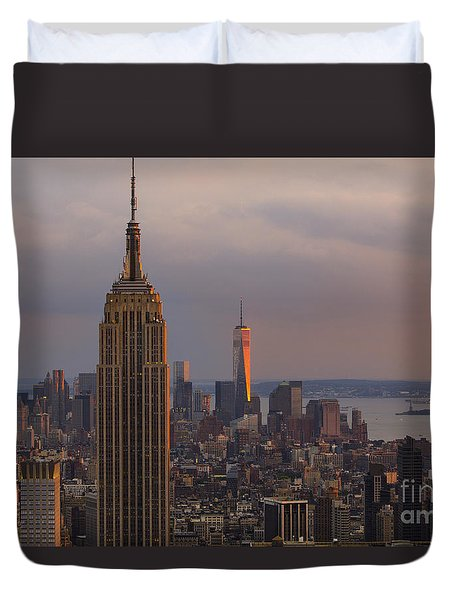 Duvet Cover featuring the photograph New York Skyline by Keith Kapple