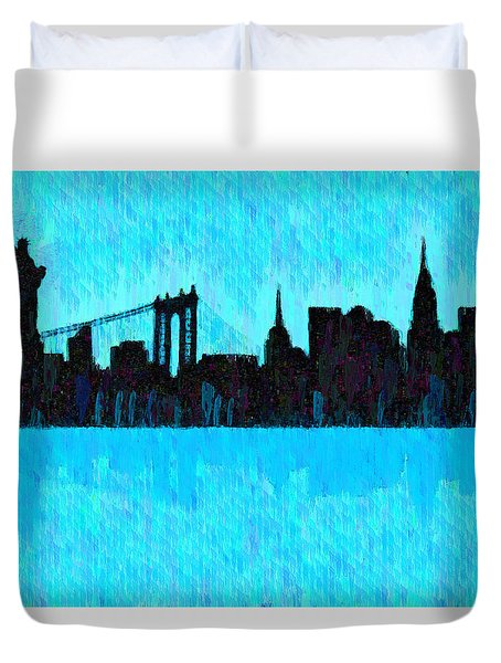 New York Skyline Silhouette Cyan - Da Duvet Cover