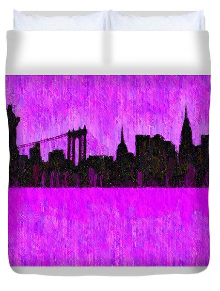New York Skyline Silhouette Purple - Da Duvet Cover