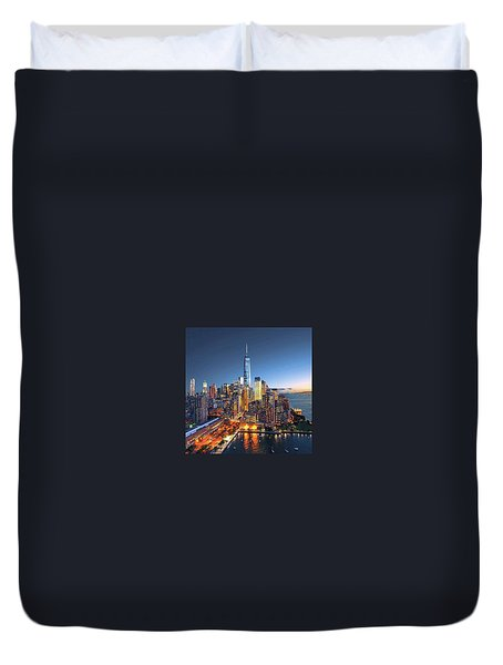 New York Skyline Sunset Duvet Cover