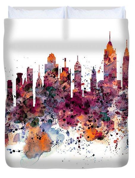 New York Skyline Watercolor Duvet Cover