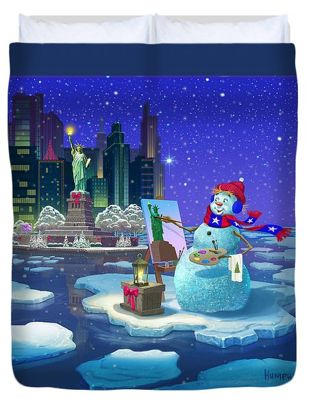 Duvet Cover featuring the painting New York Snowman by Michael Humphries