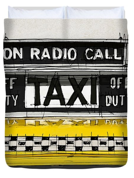 New York Taxi Sign, Yellow Cab Duvet Cover