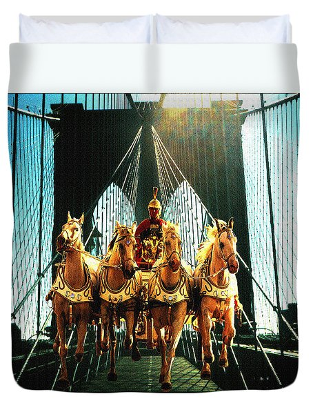 New York Time Machine - Fantasy Art Collage Duvet Cover by Art America Gallery Peter Potter