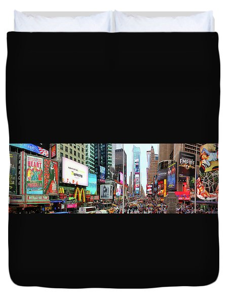 New York Times Square Panorama Duvet Cover