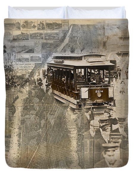 New York Trolley Vintage Photo Collage Duvet Cover by Karla Beatty