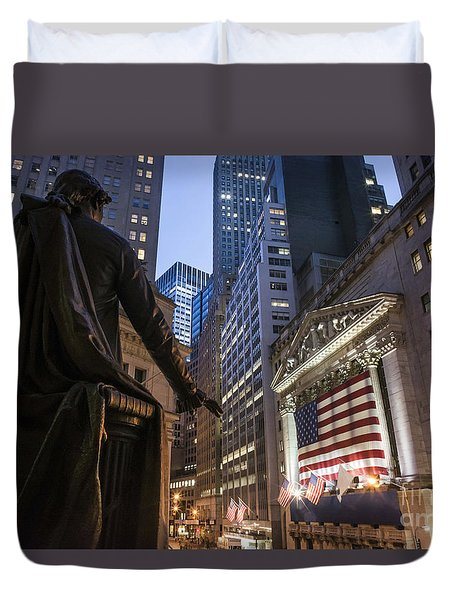 Duvet Cover featuring the photograph New York Wall Street by Juergen Held