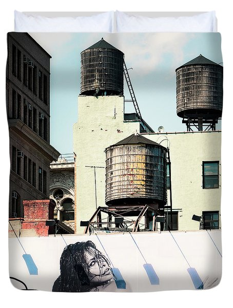 Duvet Cover featuring the photograph New York Water Towers 15 by Gary Heller